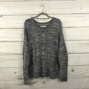 Old Navy Gray Knit Holed Crew Neck Sweater